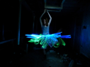 Model with light painted tutu
