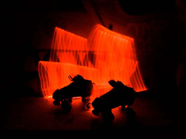 Roller derby skates lightpainting